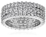 Three Sterling Silver and Cubic Zirconia Stacking All-Around Bands, Size 7