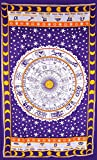 Horoscope Tapestry, Indian Hippie Wall Hanging , Bohemian Bedspread,Cotton Do...