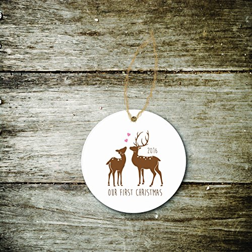 Christmas Ornament Holiday Gift Newlyweds Just Married First Christmas Wedding Bridal Shower Deer