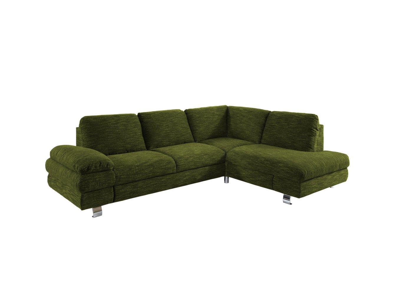 Newlevel B0013-90-0071-V2 Polsterecke Manhattan mit Schlaffunktion und Recamiere rechts mit Schubkasten, Flachgewebe, 193 x 260 x 86 cm, grün