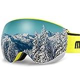 AKASO OTG Ski Goggles, Snowboard Goggles, Mag-Pro Magnetic Interchangeable Lenses, Anti-Fog, 100% UV Protection, Helmet Compatible, Snow Goggles for Men & Women, Free Balaclava Ski Mask Included (Color: Lemon Frame / Grey Lens with Golden Coating (VLT 7%))