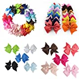 Zronji 20 Colors New Alligator Clips Girls Bow Ribbon Kids Sides Accessories Hair Clip (Color: Bows-20pcs, Tamaño: 7*5*2cm)