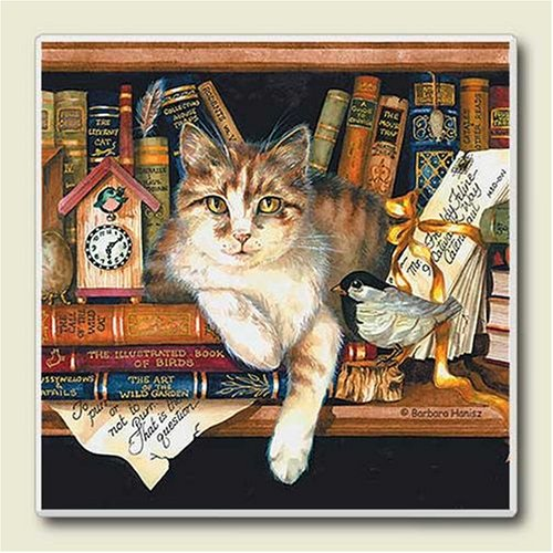 AbsorbaStone Coaster set ~ Literary Cat ~4 Tile Drink Coasters ~ code 250
