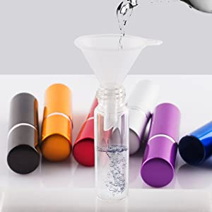 DE 6pcs 5ml Portable Mini Refillable Perfume Scent Aftershave Atomizer Empty Spray Bottle with 2 Funnel Filler for Travel Purse (Color: Red)