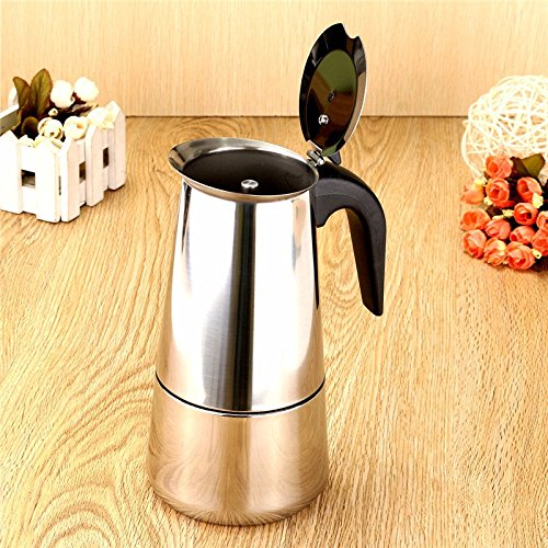 Stainless Steel Coffee Pot Kettle Stove Top Espresso Maker, Silver Tone 9-Cup (450ml)