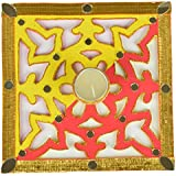 Six Senses Handicraft Wooden Rangoli Pattern With Tealight Candle (20 Cm X 20 Cm X 4 Cm)