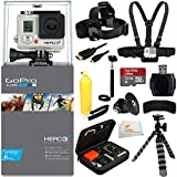 GoPro HERO3+: Silver Edition + 32GB Bundle 12PC Accessory Kit. Includes SanDisk Ultra 32GB + Reader + Head Strap + Chest Strap + Micro HDMI Cable + Handheld Monopod + Premium Rugged Hard Case + Bobber Handle + Gripster + Memory Card Wallet + Microfiber Cleaning Cloth