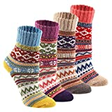 Keaza Women's 4 Pair Pack Vintage Style Cotton Wool Warm Winter Fall Crew Socks (WZ02C1)