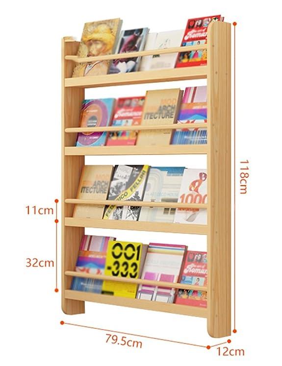 TH Scaffale da parete creativo in legno massello Scaffale da parete creativo Scaffale da muro Appendiabiti Kinder Garten ( Colore : Colore del registro , dimensioni : L. )