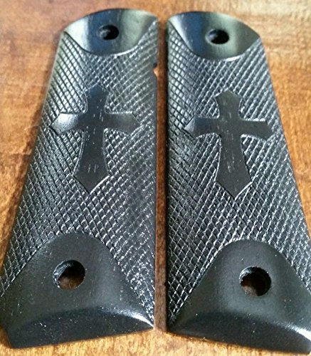 Colt 1911 Grips Wood Full Size Engraved Cross Stained Black (1911 Bushing Compensator compare prices)