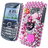 Diamond Barbie Flower Series - Hard Mobile Phone Case Cover Cover For Nokia C3-00 / Hot Pink