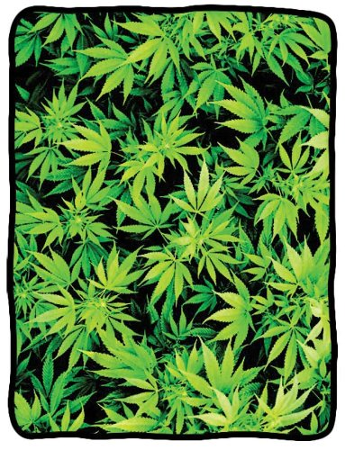 "Find Discount Hemp Leaf Fleece Blanket 45""x60"""