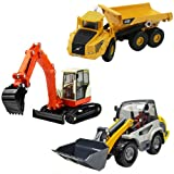 iPlay, iLearn Model Vehicle Toys, Construction Site Play Set, Learning, Early Development, Educational Dump Truck, Excavator, Digger Gift for 2, 3, 4, 5, 6 Year Olds Toddlers, Boys, Kids 3pcs (Color: Beige, Tamaño: Medium)