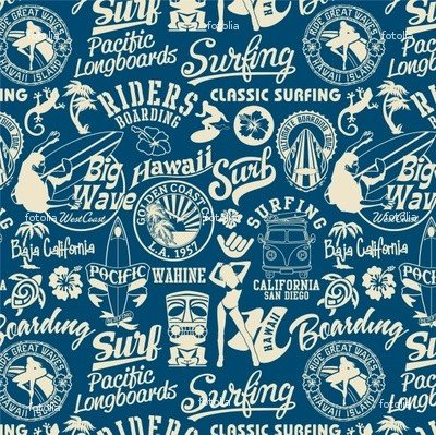 Wallmonkeys Peel and Stick Wall Graphic - Surf Elements Seamless Pattern - 18