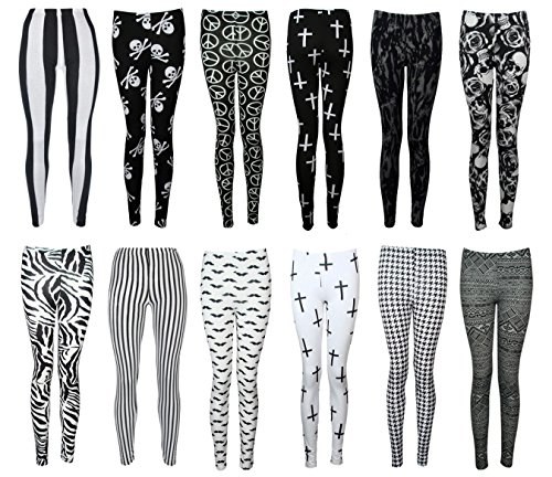 Women-Printed-Leggings-Pants-Aztec-Wetlook-Zebra-USA-Flag-Army-Rose-and-Skull