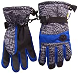Nice Caps Boys Thinsulate and Waterproof Geo Lines Print Ski Glove (8-12yrs, royal/grey)