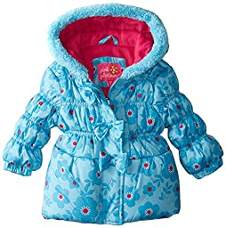 Pink Platinum Baby Girls\' 3 Bows Floral Print Puffer, Turquoise, 18 Months