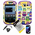 4 items Combo: ITUFFY LCD Screen Protector Film + Mini Stylus Pen + Case Opener + Yellow Purple Green Blue Pink Cartoon Owl Design Rubberized Hard Plastic + Soft Rubber TPU Skin Dual Layer Tough Hybrid Case for Samsung Galaxy Centura S738C / Samsung Galaxy Discover S730G (Straight Talk / Net10/ TracFone)