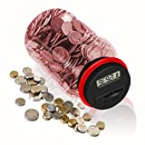 HeQiao Digital Coin Bank LCD Auto Counting Large Money Box Coins Savings Jar for US Coins (Pink) (Color: Pink)
