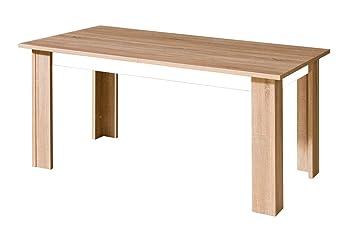 Esstisch Esszimmertisch 160x90 cm Holzfaserplatte, Ausziehbar auf 210, Farbe: Weiß