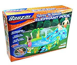 """Banzai Spray 'N Splash Series Swimming Pool - ELEPHANT POOL with Built in Sprinkler, Inflatable Elephant Slide, 2 Ropes and 1 Repair Patch (Pool Dimension: 82"""" L x 56"""" W x 27"""" H)"""