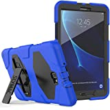 """Samsung Tab A 10.1 Case, SEYMAC Heavy Duty Full Body Rugged Shock Drop Protection Case with Built-in Screen Protector and Stand for Galaxy Tab A 10.1"""" [SM-T580/ T585/ T587]-Black/Blue (Color: black/blue)"""