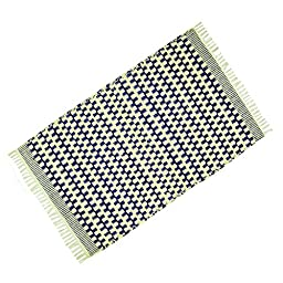Hand Woven Beige Indian Navajo Cotton Jute Rag Rug Dari Floor Runner Mat Throw 37\