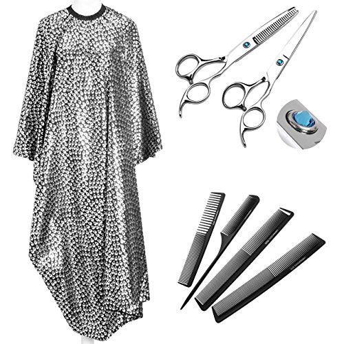 Ayliss - Blouse Salon de Coiffure Cape de Coupe Robe Antistat + Professionnel Salon de Ciseaux Effiler + Peigne Antistatique Plastique - Noir Diamant Rond