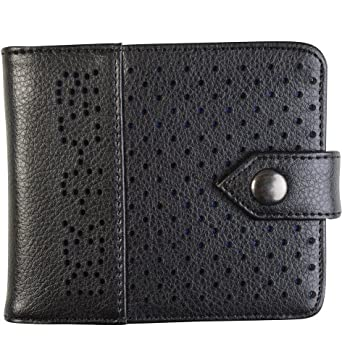 Duck and Cover Perforated Black Leather Wallet