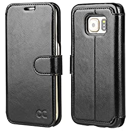 OCASE Galaxy S6 Edge Case [Slim Fit] Leather Wallet Case - For SAMSUNG Galaxy S6 Edge Devices - Black