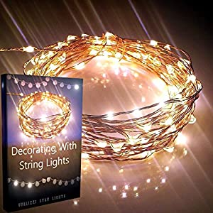 CLEARANCE SALE 54%OFF! Starry Lights By Qualizzi®- 120 Warm White Led's on 20ft Ultra-Thin Copper Wire + FREE e-Book! - Amazingly Bright Led Christmas Lights Create Mesmerizing Hanging Garlands - Best Starry String Lights for Fairy Light Effects for Outdoor Patio Decorations. + 110/220v Pw. Adaptor