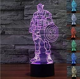 Captain America 3D LED illusion night 7color touch table desk lamp light ~ITEM #GH8 3H-J3/G8315086