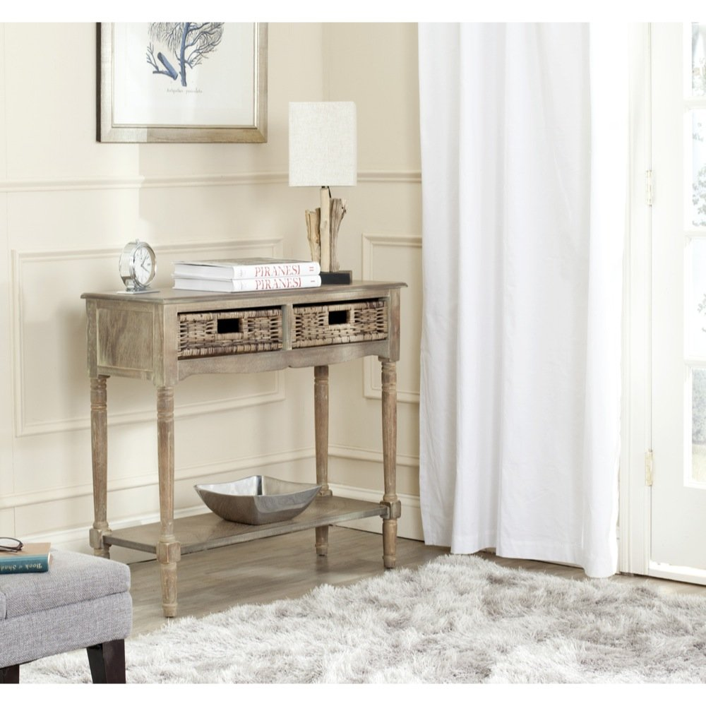 Safavieh American Home Collection Corbin Washed Natural Pine Console Table 0