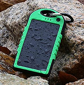 COTTEE 5000mAh Dual USB Port Portable Solar Battery Panel - Green by COTTEE