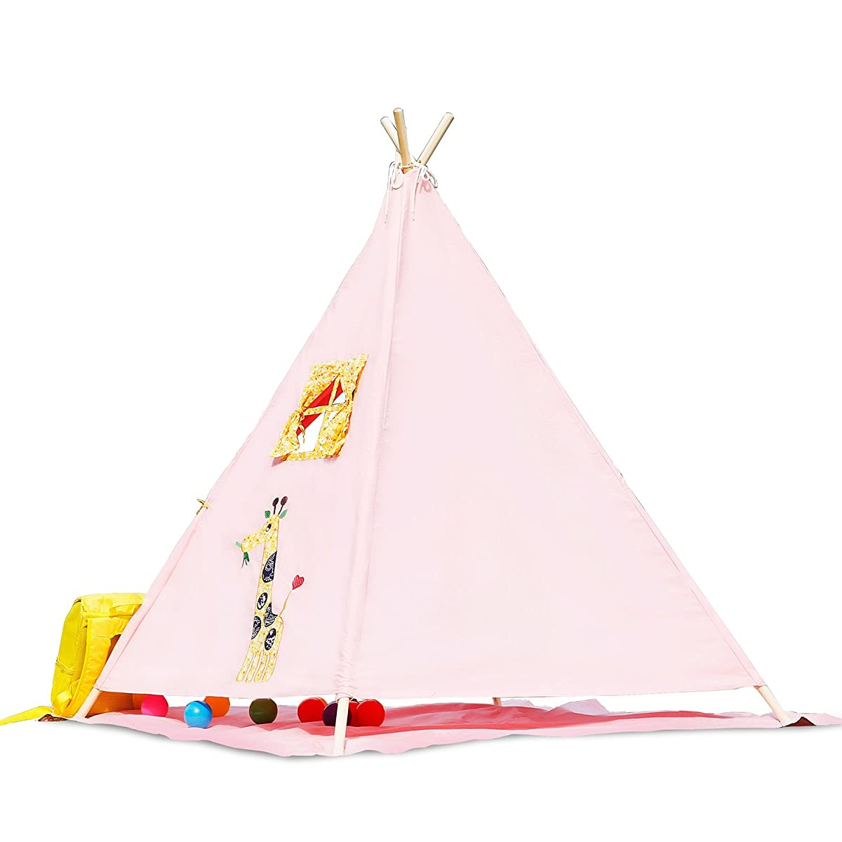 BATTOP Canvas Kids Teepee Play Tent Pink by BATTOP-Toys&Games