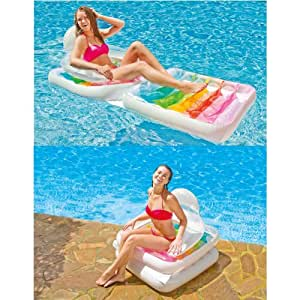 "INTEX 78"" x 37"" Inflatable Folding Beach Lounge Chair Lounger Lilo Pool Air Bed Float"