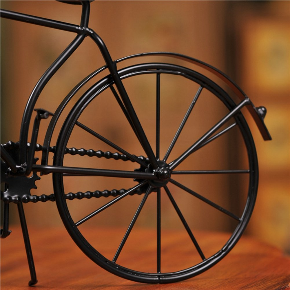 NEOTEND Handmade Vintage Bicycle Clock Bike Mute Black Table Clock Black Color 5