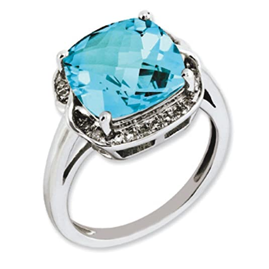 Sterling Silver Light Swiss Blue Topaz and Rough Diamond Ring - Ring Size Options Range: J to T