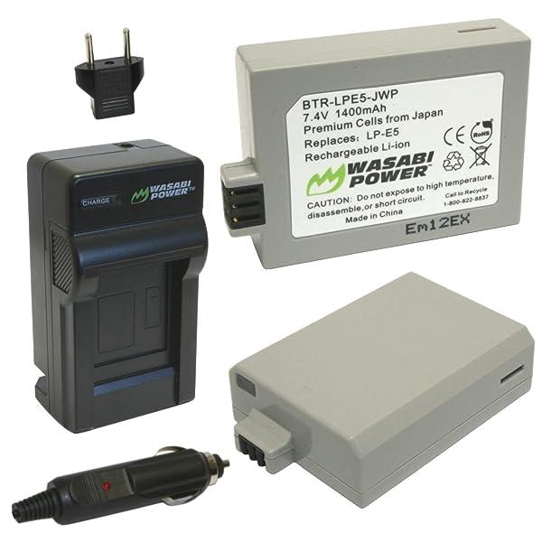 y cargador USB DOBLE para Canon LP-E5 Batería Wasabi 2 paquetes