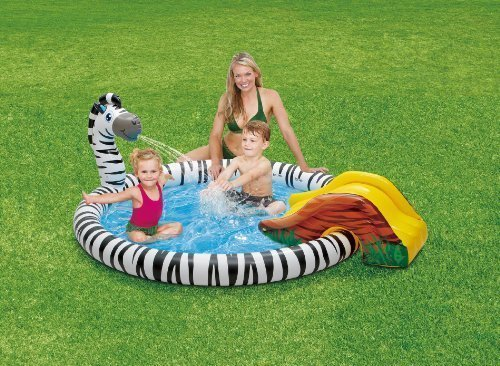 Zebra Sprinkler & Slide Childrens Play Center Inflatable Swimming Pool 77
