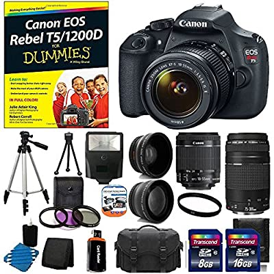 Canon EOS Rebel T5 18MP EF-S Digital SLR Camera USA warranty with canon EF-S 18-55mm f/3.5-5.6 IS [Image Stabilizer] II Zoom Lens & EF 75-300mm f/4-5.6 III Telephoto Zoom Lens + 58mm 2x Professional Lens +High Definition 58mm Wide Angle Lens +Canon EOS Re