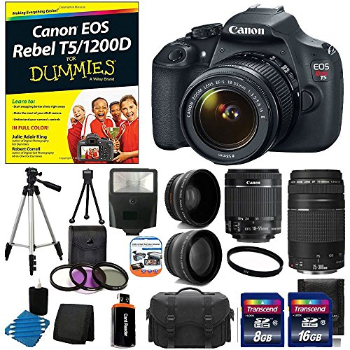 Canon EOS Rebel T5 18MP EF-S Digital SLR Camera USA warranty with canon EF-S 18-55mm f/3.5-5.6 IS [Image Stabilizer] II Zoom Lens & EF 75-300mm f/4-5.6 III Telephoto Zoom Lens + 58mm 2x Professional Lens +High Definition 58mm Wide Angle Lens +Canon EOS Rebel T5/1200D For Dummies + Auto Power Flash + UV Filter Kit with 24GB Complete Deluxe Accessory Bundle