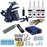 Wanna Tattoo Kit for Beginners Tattoo Power Supply Kit 4pcsTattoo Ink 5 Tattoo Needles 1 Pro Tattoo Machine Guns Kit Tattoo Supplies (Color: 1 Tattoo Machine Kit)