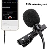 PoP voice 155 Single Head Lavalier Lapel Microphone Omnidirectional Condenser Mic for Apple iPhone Android & Windows Smartphones, Youtube, Interview,