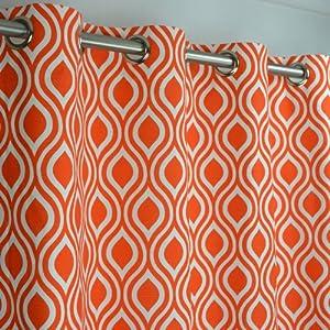 Amazon Tangelo Orange And White Trellis Drape With
