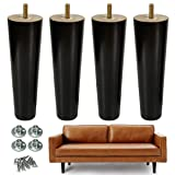 AORYVIC 8 inch Wood Furniture Legs Replacement Sofa Legs Pack of 4 for Couch Feet Chest of Drawers Cabinet DIY Furniture Project with Pre-drilled 5/16 Inch Bolt (Tamaño: 8 inch black)