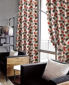 Genesis Red Chenille Jacquard 66x90 Ring Top Eyelet Lined Curtains #nede *as* from Curtains