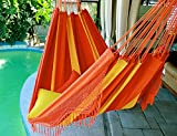 Orange Mix - Fine Cotton King Size Hammock with Croche Fringe, Made in Brazil