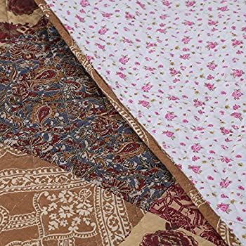 Luxury Retro Floral Stitching Cotton Patchwork Bedspread Sets Quilt Queen Size