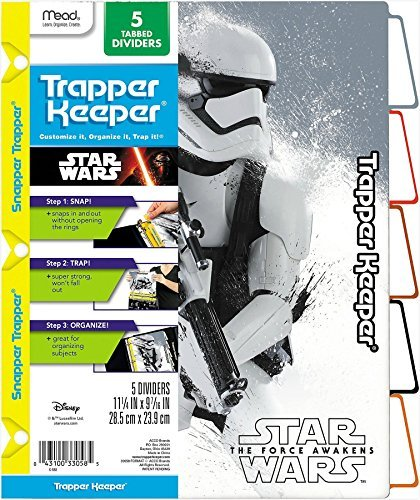 star-wars-force-awakens-trapper-keeper-5-tabbed-dividers-by-mead-assorted-designs-colored-tabs-by-me